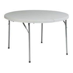 """Office Star - Office Star Round Folding Half Multi Purpose Table in White - Office Star - Folding Tables - BT48F - 48"""" Round Fold in Half Resin Multi Purpose Table. Durable construction. light weight Sleek design. Powder coated Tubular frame. Ideal for indoor or outdoor use. Easy Storage. Meets or exceeds test standards (BIFMA and MTL)"""