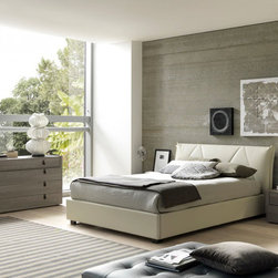 Esprit Modern Eco Leather Bedroom Set - Bedroom Set includes Queen Size Bed, 2 Nightstands and Dresser. Upholstered in rich beige eco leather, this platform set looks beautiful within just about any interior.