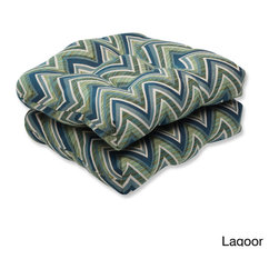 Pillow Perfect - Pillow Perfect Wicker Seat Cushion with Sunbrella Chevron Fabric (Set of 2) - Pillow Perfect Wicker Seat Cushion with Sunbrella Chevron Fabric (Set of 2)