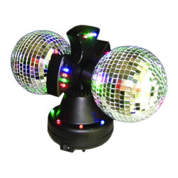 """Lamps Plus - Contemporary Twin Mirror Ball Accent Light - Make your next event memorable with the fun and animated effects created by this double mirror ball LED light. Having an incredible 12 color changing LED bulbs this party light projects a spectrum of dancing color on any surrounding walls. Includes 12 color changing LED lights. In-line on/off switch. 13"""" high. Base 19"""" wide.  Small size ideal for desks or side tables.  Includes 12 color changing LED lights.   In-line on/off switch.   13"""" high.   Base 19"""" wide 22"""" deep."""