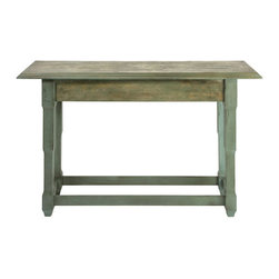 Maverick Console Table - Rustic chic never looked so good. Bring the rugged charm of the great outdoors to your home with the Maverick Console Table. Crafted out of wood with a muted green finish, the table adds functional charm to any space.
