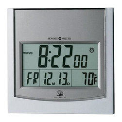 HOWARD MILLER - Howard Miller Techtime I - Radio Controlled Clock - Two-tone titanium and satin silver alarm clock with LCD display.