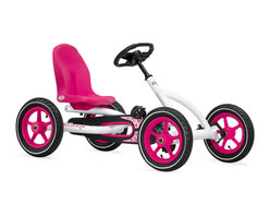 BERG - BERG Buddy Pedal Kart - It's pink and pretty - yet sporty and super-cool.  A perfect pedal kart for your child to spend hours of outdoor fun and play.  Put aside the old idea of fun and be the first in your neighborhood to have a kids ride on vehicle!  The braking system is so unique.  You can pedal backward and brake.  Then go forward or backward by pedaling.  The adjustable seat and steering wheel will give you lots of years of fantastic fun!  Order yours today.