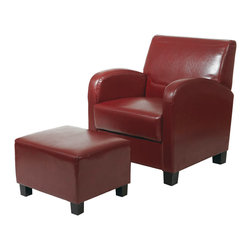 Office Star - Office Star Metro Club Chair in Cream Eco Leather with Espresso Legs - Features: