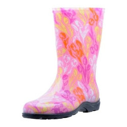 Sloggers Womens Pink Tulip Rain & Garden Boot - The Sloggers Womens Pink Tulip Rain & Garden Boot are a fun and adorable way to protect your feet while you're working. These smart and stylish boots are crafted from durable resin material and are designed to keep your feet dry and clean, even when you're working in the dirt. The fun floral design and pretty pink color will make your day brighter. The flexible insole will stay comfortable season after season.About SloggersLocated in Los Angeles, California, Sloggers has been developing high-quality garden clogs using a sophisticated injection molding system. A unique manufacturer system allows Sloggers to distribute top-quality products at highly competitive prices for customers the world over. Comfort and durability are the cornerstones of this 55-year old company that now produces a variety of lawn and garden care apparel all backed with distinguished customer service.