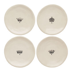 Crown Salad Plates - Set of 4 - Handsomely illustrated with royal headgear in quirky black-and-white line art, the Crown Salad Plates are provided in a set of four, each with its own distinctive design drawn at the center.  Equally ideal for appetizers and desserts, these small white ceramic plates neutrally coordinate with any dinnerware to add a hint of European joie de vivre to the table.