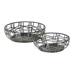"Cyan Design - Cyan Design 02446 Suzanne Baskets (Pack of 2) - Basket dimension: large (5"" H x 15.5"" D), small (4.25"" H x 13"" D)"