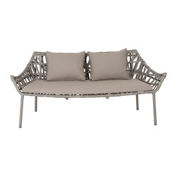 Euro Style - Gazelle Love Seat - If there were a museum of cool ideas this would be in the lobby. The aluminum frame is wrapped in polyethylene rattan, and under the clear glass top is seemingly random pattern of supporting rattan. Exotic? Maybe. Original style? Definitely.
