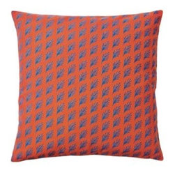 Serena & Lily - Captiva Pillow Cover Tomato - Taken from one of Serena's watercolors, each leafy frond is just slightly different from the next and printed on the diagonal for a subtle sense of movement. The delicate print looks striking against a solid ground.