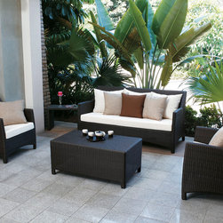 Barberry Outdoor Sofa Set - You'll love to lounge in your outdoor space with the Barberry Rattan Sofa Set. With stylish and comfortable waterproof cushioned seating, and top quality rattan construction. Includes matching coffee table to complete the perfect patio set.