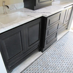 KM - Classic Tile and Mosaic, CTM Tile, Basketweave Mosaic Moonstone Marble Basalt, Crystal White Marble Polished Finish, 12x12 Carrara Polished, Marble Countertop, traditional