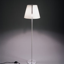 Melampo floor, design by Adrien Gardre - 2000, 2005 - Floor standing luminaires with adjustable diffuser for direct or indirect diffused LED, fluorescent, halogen or incandescent lighting