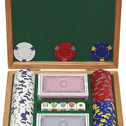 Trademark Poker - 100 Pc Capacity Pro Clay Casino Chips w Solid - Includes poker chip case, 2 decks of brand new standard playing cards and  5 poker dice that are marked with a 9, 10, Jack, Queen, King & Ace. Holds 100 casino chips. Oak finish. Hardware is made of solid brass. Inside of the case is lined with Green colored feltThese 100 Pro Clay Casino Chips are 39 mm. Dia. casino-sized chips and are 13 g. in weight! From our experience and dedication to the gaming industry, we have been able to reproduce the quality and feel of authentic casino poker chips used at the most famous casino resorts around the world, such as the Mirage and Bellagio Resorts. These chips have a soft feel, and will wear with use, just like real casino chips! They are crafted of a solid clay, with an inconspicuous metal insert allowing us to provide hot stamping for these excellent chips. When our engineers produced these chips, we couldn't believe they had an insert - they sound that great! With a fine assortment of 2-Tone colors, this exclusive chip line looks great too! This is a very nice case and well worth the money.
