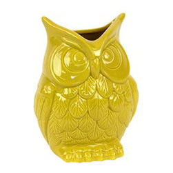 Sunny Owl Vase in Yellow - Small - We can't help but give a hoot for this well-crafted ceramic owl. Whether you fill him with flowers or leave him empty, this owl will happily adorn your mantle, table, or bookshelf with a surprisingly sunny disposition.
