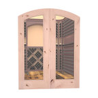 CellarSelect™ Wine Cellar Door: French Bordeaux (Unfinished Alder) - Showcase the unique beauty of your wine cellar with French Bordeaux arched doors. Features impressive eyebrow arched design, solid jamb and decorative casings. Exterior grade components like insulated low-E glass help seal your cellar and keep your wine at ideal temps. Hand made in the USA.