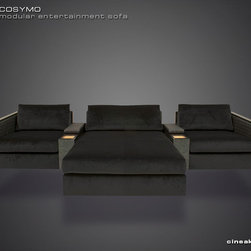 Media Room and Home Theater Sectional Sofa by Cineak - A NEW WAVE OF MODULARLY-BUILT SECTIONAL SOFA SEATING The shape of this sofa is defined by firm leather upholstry along the outside of the seats. Due to its modularity, numerous seating layouts can be created by combining elements.
