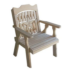 Fifthroom - Treated Pine Starback Chair - A simple patio chair is a great addition to any patio set.  Its uncomplicated appeal has lasted decades.  Pair that with the classic country star accented on the back, and you have a tradition worth keeping for generations.
