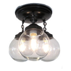 Biddeford Way. Clear Globe CEILING LIGHT Trio, Antique Black - Do you love the look of the clear globes & filament bulbs but need more than a single bulb to illuminate your space? Here's your answer.