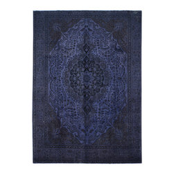 """ALRUG - Handmade Grey/Blue Persian Antique Overdyed Rug 9' 3"""" x 12' 11"""" (ft) - This Persian Overdyed design rug is hand-knotted with Wool on Cotton."""
