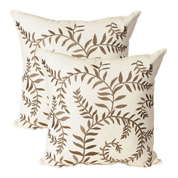 India House Brass, Inc. - Vine Ecru 20-Inch Square Embroidered Pillow - - Whether you are looking for plain or fancy, modern or traditional, our decorative pillows are just the right combination.   - The shell is made of 100% cotton and the filling is 100% polyester.  India House Brass, Inc. - 83145