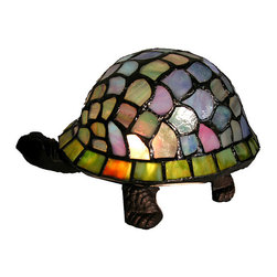 Warehouse of Tiffany - Tiffany-style Turtle Accent Lamp - This Tiffany-inspired, turtle-accent lamp is constructed from over 100 pieces of dazzling cut glass in a wide array of shapes and colors. Formed into the shape of a turtle's shell, this unique conversation piece illuminates your room in style.