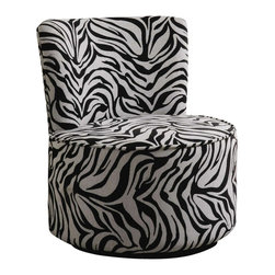 Coaster - Coaster Accent Seating Round Swivel Chair in Exotic Zebra Stripes - Coaster - Accent Chairs - 902002 - Liven up your living area or bedroom with this fun and energetic swivel chair. Featuring a curved attached back and round seat cushion this chair is designed with soft lines and gentle edges for a light delicate appeal. Armless and legless in form this chair has a sleek continuous form that gives it a sort of floating appeal. Comfortably upholstered and built with a 360-degree swivel this chair is built for your leisure and convenience. Available in three distinct fabrics that include a retro square pattern exotic zebra stripes and fun swirly design you can pick and choose a look and feel that you will never forget.