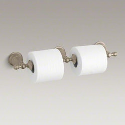 KOHLER - KOHLER Revival(R) double toilet tissue holder - Bring the essence of Art Deco to your bathroom with Revival accessories, which incorporate elliptical shapes and rolled edges inspired by classic 1920s design. At home in both traditional and contemporary decors, this double holder ensures an ample supply