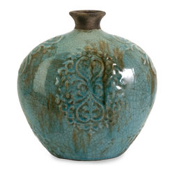 Blue Crackle Embossed Vase - *Shades of blue blend with an antique crackle finish over the body of this vase.