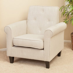 Christopher Knight Home - Christopher Knight Home Isaac Tufted Beige Fabric Club Chair - The Isaac tufted club chair allows users to relax in style. Constructed in soft fabric,this comfortable chair is great for small spaces and functions as a great place to take a nap or read a book.