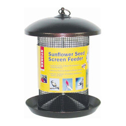 Hiatt Manufacturing - Sunflower Screen Feeder - Holds 5.3 qts (approx. 6.6 lbs) of seed. Screen designed for large seeds such as black oil sunflower or wild bird mixes. Birds can perch on feeder or cling to screen, whichever is most comfortable.