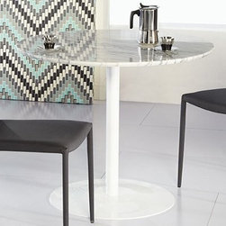 """Euro Style Tammy Round Marble Dining Table - Astound your guests with the Euro Style Tammy Round Marble Dining Table. This table is a perfect addition to any contemporary home. It's crafted with a durable steel column that ensures stability and longevity. The real clincher though is the beautiful marble top. It's 18 millimeters thick and shining white. It looks like a little slice of heaven. You'll love this table as the new centerpiece in your dining room. Table dimensiomns: 37L x 37W x 29.5H inches. This purchase is for dining table only please see """"""""Related Items"""""""" for matching chairs or complete dining set."""