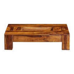 "Artemano - Lydia Coffee Table Made of Rosewood, Light Brown, 48"" X 36"" X 12"" - Clean straight lines, rich warm shades of Indian rosewood, and quality craftsmanship make the Lydia coffee table a great centerpiece in any living room. A drop down center for books, flowers, accessories or the remote control - you choose. Natural. Light Brown. Light Olive. Square. Rectangle. Decide which color and format is your favorite!"