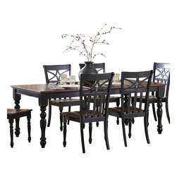 Homelegance - Homelegance Sanibel Extension Dining Table in Black and Warm Cherry - As breezy as a day at the beach, the modern cottage styling of the Sanibel collection will meld effortlessly with your casual personal style. The versatility of the design lends to the perfect placement in your casual dining room. The collection is offered in black or white _ each featuring a warm cherry finished tabletop and chair seats.