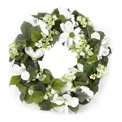 Spring Inspirations Mixed Hydrangea Wreath, Cream And Green - This is a great price for a uniquely-designed wreath.