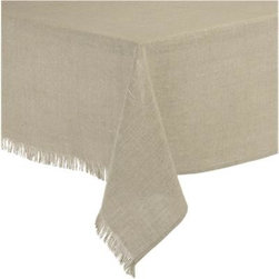 "Beckett Linen 60""x60"" Tablecloth - Pure, natural linen lends a classic look and easy-going attitude to the table. Tablecloth drapes beautifully, ending in a delicate gesture of handmade fringe."