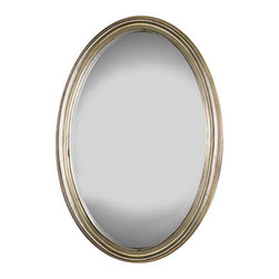 Uttermost Franklin Oval Silver Mirror - Distressed silver leaf with gray glaze. Oval mirror features an antique silver leaf finish.