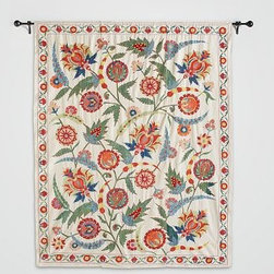 """PB Found Authentic Embroidered Suzani Tapestry, Large - Rich in culture and history, the suzani was originally used as a wedding canopy in Tajikistan, Kazakhstan and Uzbekistan. Each of these tapestries was hand selected from a collector in Turkey and is completely unique, showcasing details and various characteristics of the authentic piece. Small sizes range from 39"""" x 48"""" to 42"""" x 51"""" Medium sizes range from 57"""" x 42"""" to 64"""" x 73"""" Largel sizes range from 72"""" x 64"""" to 75"""" x 63"""" Panels bear the rare character and beauty of handmade, vintage cloth; they may include patches or other signs of wear accumulated over time. Each piece is unique."""
