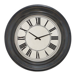 "ecWorld - Urban Designs 32"" Rustic Black Wood Round Contemporary Wall Clock - This wall clock is an exquisite accent for a meeting point or social area in your home or office. It features a round clock face under glass with black roman numerals. It combines the best features of traditional and contemporary styles. Ready to hang."
