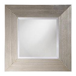 Howard Elliott - Atlanta Mirror in Stepped Bright Silver Leaf - Frame Size: 26 in. x 26 in. x 3 in.