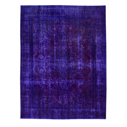"""ALRUG - Handmade Indigo Persian Antique Overdyed Rug 9' 6"""" x 12' 5"""" (ft) - This Persian Overdyed design rug is hand-knotted with Wool on Cotton."""