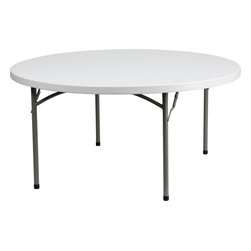 Flash Furniture - Flash Furniture 60'' Round Granite White Plastic Folding Table - This commercial grade table is useful in a multitude of environments from banquet halls, cafeterias, or in the home. This table can be used as a temporary seating solution or set-up in a permanent location for everyday use. Flash Furniture's 60'' Round Folding Table features a durable stain resistant blow molded top and sturdy frame. The blow molded top requires low maintenance and cleans easily. The table's legs lock in place in a SNAP with the leg locking system for easy set-ups.
