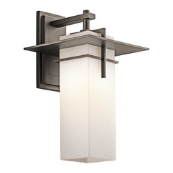 Kichler Lighting - Kichler Lighting Caterham Modern / Contemporary Outdoor Wall Sconce X-ZO44694 - Enjoy the lantern style with sophisticated styling and suave appeal all in this contemporary wall pendant. The satin etched cased opal glass looks marvelous in your living room, bedroom, bathroom, lounge, or kitchen as it sheds clean and bright light. The Olde Bronze finish is highly durable and made to please.