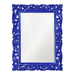 "Howard Elliott - Openwork Howard Elliott Chateau 31"" x 41"" Royal Blue Wall Mirror - Blue wall mirror. Ornate baroque style scroll design. Openwork frame. Glossy finish. Resin construction. Mirror only is 21"" wide 31"" high. Hang weight is 20 pounds. Made to order. 31"" wide. 41"" high. 1"" deep.     Blue wall mirror.  Ornate baroque style scroll design.  Openwork frame.  Glossy finish.  Resin construction.  Mirror only is 21"" wide 31"" high.  Hang weight is 20 pounds.  Made to order.  31"" wide.  41"" high.  1"" deep."