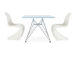 """Vertigo Interiors - Eames Style Kids Square Blue Table & 2 Kids Panton Style S Chairs, Green Chairs - Vertigo Interiors is proud to present to you the highest quality reproduction of the Kid's Eames Square Table and Kid's Panton S Chairs on the market today. Both stylish and decorative, this set can be used in a playroom, at school, in a nursery, or as a dining set. The tabletop is constructed of high quality ABS plastic with a chrome """"Eiffel"""" base and the Panton chair is made of heat molded ABS."""