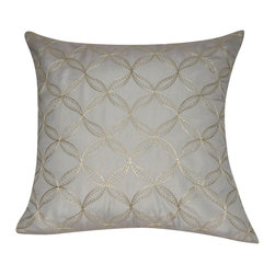 "Loom and Mill - Loom and Mill P0167-2121P 21"" x 21"" Dark Gray Circles Decorative Pillow - Elegant and cozy. This embroidered decorative pillow is not only beautiful to look at but well-constructed and plush.   Spot clean only."