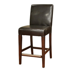 American Heritage - Highland 26 in. Counter Stool in Espresso and - Set of 2. Finished in Espresso. Toast Leather Cushion. Stationary Stool. Mortise and Tenon Construction. Metal Footplate. 3 in. Cushion. Webbed Seating. Floor Glides. Construction Material: Wood. No Assembly Required. 26 in. Seat Height. 1 Year Warranty. Seat Width: 19 inches. Seat Depth: 16.5 inches. 22.5 in. W x 19.5 in. D x 40.5 in. H