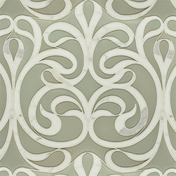 """Danse Lucido Glass and Stone Water Jet Mosaic - The airy feeling of silken drapery wafting in the breeze entering through the open doors of a Venetian Villa, this water jet cut pattern offers striking patterning in a tonal colorway. Ribbons of Calacatta Gold marble flowing amidst a reflective glass background. Glossy Pearl cream glass background with polished Calacata Gold marble ribboning, milk white accented by soft grey and gold veining. Complements Opera Glass Pavarotti Pearl. Mesh mounted on well thought out interlocking sheets in ribbons of up to 11/16"""" in width set within a variably sized background resulting in a seamless installation."""