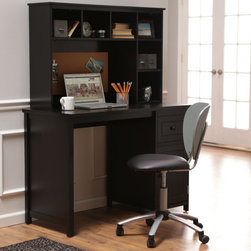 Finley Home - Piper Desk with Optional Hutch Set - Black - ID619 - Shop for Childrens Desks from Hayneedle.com! make small spaces work as hard as you do with the executive-ready Piper Desk with Optional Hutch Set - Black. Crafted with a blend of wood and reinforcing engineered wood this small-scale desk and coordinating optional hutch are finished in a deep black that enriches the pieces' simple lines. A supply drawer and cupboard give you places to stash notebooks pens and books in the desk. Add the optional hutch for six more cubby spaces and a framed corkboard for daily to-do lists. The desk won't cure procrastination but it will provide plenty of space to hammer out reports left and right.About Finley HomeFinley Home was created to ensure that your needs wants and desires regarding home furnishings and decor are met with ease. Offering a well-appointed mix of both current and classic designs all with functional style at exceptionally affordable prices Finley Home's unique pieces and collections are ideal for keeping pace with today's ever-evolving lifestyles. Simple silhouettes understated elegance and versatility define the Finley Home brand and make it one you'll return to for years to come.