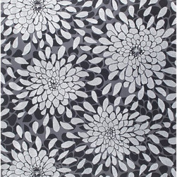 York - Rb4260 Toss The Bouquet Contemporary Floral Wallpaper - RB4260 Toss the Bouquet from Risky Business II is a black tone on tone floral wallpaper with silver glitter floral accents.