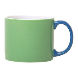 Jansen+co - Jansen+co My Mug XL, Green with Blue Handle - Known for its use of bold color combinations, Jansen+co's tabletop products combine high quality industrial production with a careful hand finish. A part of the My Mug series, the My Mug XL is the perfect size for a morning coffee, and conveniently fits right under a standard Nespresso® machine (for those ALSO addicted). Available in a variety of different colors (& the mugs with contrasting handles), it's encouraged to mix and match with the rest of the Jansen+co products, to create a bright, eclectic, collection of your own.